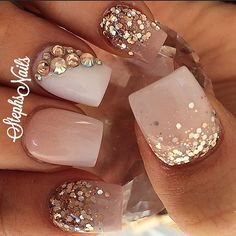 Opting for bright colours or intricate nail art isn't a must anymore. This year, nude nail designs are becoming a trend. Here are some nude nail designs. Get Nails, Prom Nails, Bling Nails, Love Nails, Glitter Nails, Wedding Nails, Fall Nails, Fabulous Nails, Gorgeous Nails
