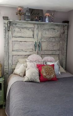 Shabby Chic Headboard, Shabby Chic Bedrooms, Shabby Chic Homes, Shabby Chic Furniture, Shabby Chic Decor, Bedroom Furniture, Bedroom Decor, Farmhouse Headboards, Chic Bedding