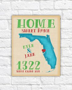 Personalized Housewarming Gift - Florida Map, Miami, Orlando, Tampa, Key West, FL Home Sweet Home, Summer Wedding Beach Bride Going Away