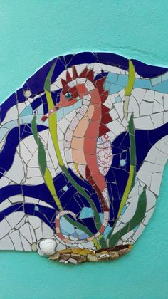 Sea horse Mosaic by Ricardo Stefani & Julia Gurwicz. Mosaic Wall.