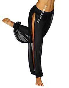 TMS BLACK Chiffon Slit Harem Yoga Pant Belly Dance Costume Tribal PANTALON CSH