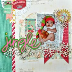 Jingle LO by DT member Kathy Harper for BoBunny SWAP using LSS snowflake border