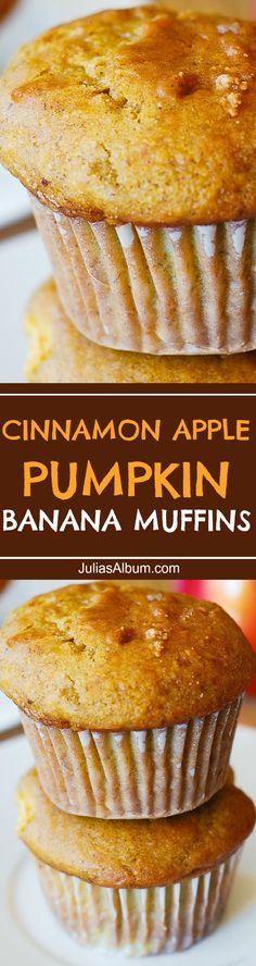 Cinnamon Apple Pumpkin Banana Muffins - sweet and fluffy, made with Greek yogurt. #Thanksgiving #Fall #Holidays #baking