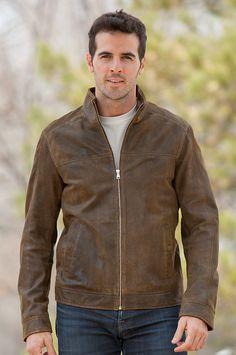 Brown Lambskin Leather Jacket - Coat Nj