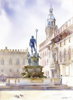 Bolonia, Italy, Piazza del Nettuno by GreeGW.deviantart.com on @deviantART
