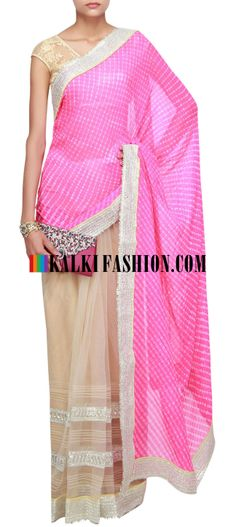 Buy Online from the link below. We ship worldwide (Free Shipping over US$100)  http://www.kalkifashion.com/half-and-half-saree-in-pink-and-beige-highlighted-in-pin-tucks-and-gotta-patti-only-on-kalki.html