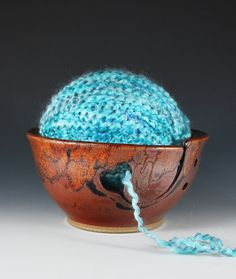 yarn bowl made of wood  I definately need one of these!!  etsy.com