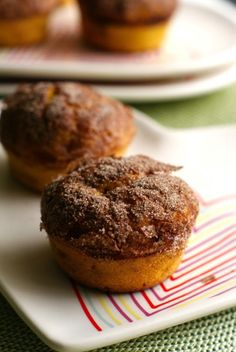 Cinnamon Crunch Butternut Squash Muffins ~ via this blog, The Two Bite Club.