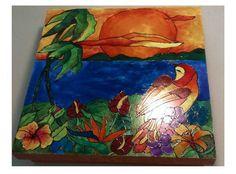 Caixa Pintada a mão - Tropical
