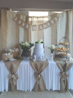 "New and Used Stuff for Sale in Phoenix, AZ - OfferUp Used (normal wear), Dessert table backdrop with ""love is sweet"" sign. And table burlap pieces with 2 bows (can't find the bow). Used for bridal shower. Make an offer! Wedding Table, Diy Wedding, Wedding Ideas, Decor Wedding, Wedding Reception, Wedding Hair, Wedding Cakes, Wedding Planning, Camo Wedding"