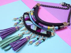Statement necklace Tassel necklace Tribal necklace by tashtashop