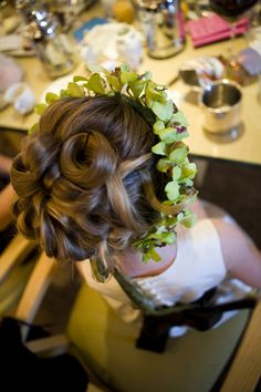 Green orchid headband