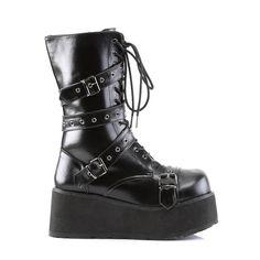 2af3e699d4a Trashville 205 Leatherette Buckle Strap Upper Lace Up Gothic Style Platform  Boot Men s Sizes