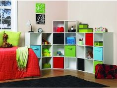 Fabric Drawers can help organize a room while keeping it colourful and stylish. Available in brown, green, pink, blue, beige, black and white: http://www.lowes.ca/totes-bins-boxes_2174.html