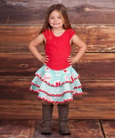 Another great find on #zulily! Blue & Red 'Love' Bonnie Top & Skirt - Infant, Toddler & Girls #zulilyfinds