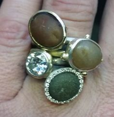 stack rings silver, white gold, diamonds, pebbles nicki bottcher