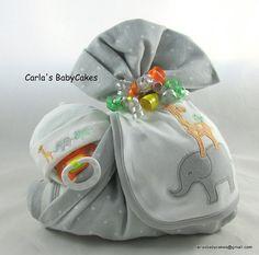 Neutral diaper cake Stork bundle baby by MsCarlasBabyCakes