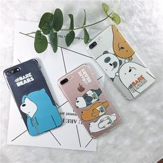 2017 Cute Cartoon Korea WE BARE BEARS Transparent Phone Cases Cover For Couqe iPhone 5s 6 6s plus 7 7plus Soft TPU Silicone Case