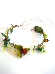 Bridal flower crown wedding headpiece hair by RainbowMittens, $31.00