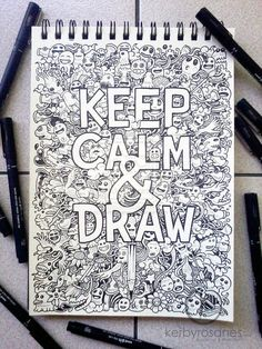 A special doodle for a t-shirt design concept. UPDATE: This artwork is now for sale as art prints on my shop! DOODLE ART: Keep Calm And Draw Amazing Drawings, Cool Drawings, Amazing Art, Awesome, Doodle Inspiration, Doodle Ideas, Doodle Art, Zantangle Art, Drawn Art