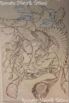 Ave Fenix Tattoo Sketches, Tattoo Drawings, Tattoo Studio, Rite De Passage, Wicked Tattoos, Phoenix Tattoo Design, Asian Tattoos, Japan Tattoo, Oriental Tattoo