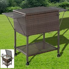 Bar Bottle Cooler Garden Outdoor Storage Rattan Table Bbq Drinks Pool Party Ice