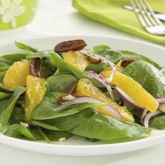 Salade de pousses d'épinards, oranges et noix minceur