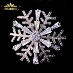 Snowflake Studded Diamante Brooch Rhinestone Crystal Broach Pin Gift IYT