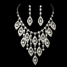 Elaborate Silver Plated Rhinestone Jewelry Set - perfect for your quinceanera! --Affordable Elegance Bridal