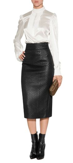 A trompe l'oeil basket weave amps up the attitude of this incredibly stylish pencil skirt from L'Wren Scott #Stylebop