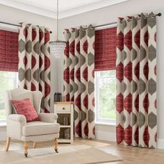 Innovative Grey And Red Curtains and Best 20 Grey Eyelet Curtains Ideas On Home Decor Yellow Eyelet Red And Grey Curtains, Red Curtains Living Room, Kitchen Window Curtains, Living Rooms, Kitchen Windows, House Windows, Eyelet Curtains Ideas, Ready Made Eyelet Curtains, Lined Curtains