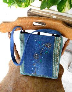 Beaded Denim & Striped Upholstery Bag Long by SewOldSeamsNew, $26.00