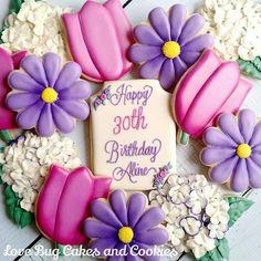 Birthday flowers! #tulips #spring #birthday #flowers #purple #pretty #lovebugcookies #decoratedcookies #loudouncounty #leesburg #southriding #ashburn #gifts #cookieart #cute #cookies #pretty #cookieclasses #cookiedecoratingclass #loudouncountyactivity
