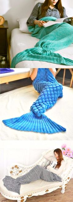 When you've always wanted to be a mermaid... This mermaid tail blanket is…