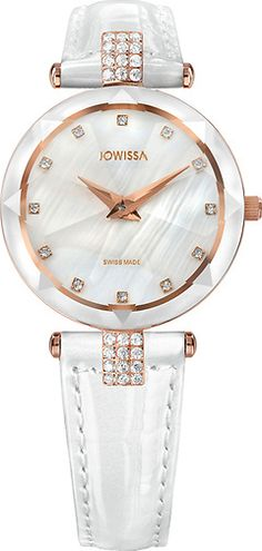 Facet Strass Rose/Mother-of-pearl mm Ladies' Watch Leather White Ladies Watches, Bracelet Watch, Collections, Pearls, Diamond, Stylish, Lady, Gold, Leather