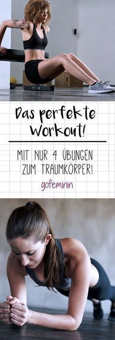 perfect workout: four exercises for the whole body! - You don't need more than these four exercises for a slim, toned body. -The perfect workout: four exercises for the whole body! - You don't need more than these four exercises for a slim, toned body. Fitness Workouts, Fitness Motivation, Tips Fitness, Sport Fitness, Yoga Fitness, Health Fitness, Physical Fitness, Usa Health, Ladies Fitness