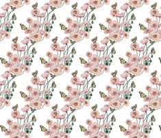 Pastel Spring Poppies_and_Butterflies fabric by art_on_fabric on Spoonflower - custom fabric