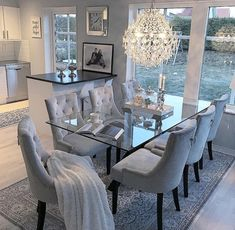 53 Elegant Dining Room Design For Dream Home - Pin Store Dining Room Table Decor, Elegant Dining Room, Luxury Dining Room, Dining Room Design, Living Room Decor, Dinning Room Ideas, Glass Dinning Table, Dining Room Sets, Table And Chairs