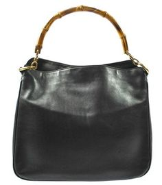 6d2adb6ca7a9 Gucci Bamboo Hand Leather Made In Italy Vintage Good Black Tote Bag. Get  one of