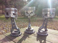 Handmade Skull Pistons from Morgan's Garage