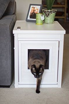 Cat Litter Box Cover End Table Antique White Stylish Wood Nightstand Furniture #NewAgePet