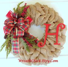 Christmas wreath, Holiday wreath, Burlap wreath, Front door wreath, Holiday door decor, Monogram wreath, Initial wreath, Country Christmas by WreathChick on Etsy https://www.etsy.com/listing/196981223/christmas-wreath-holiday-wreath-burlap