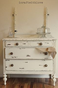 DIY::Vintage Distressed Dresser.  Would love to see what the mirror to this looks like