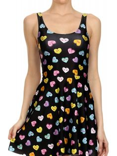 Poprageous Women's Candy Heart Skater Dress - Black