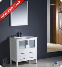 """View the Fresca FVN6230WH-UNS White Torino 30"""" Free Standing Vanity Set with Engineered Wood Cabinet, Ceramic Top, 1 Integrated Sink, 1 Mirror, and 1 Single Hole Faucet at Build.com."""