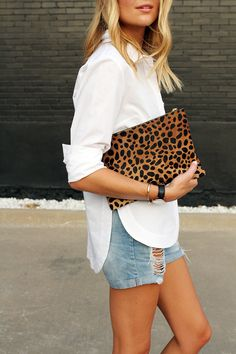 white button down, distressed shorts & leopard clutch // spring style