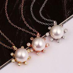 De Gros Bijoux Colliers en Utilisez cristal Swarovski et perle / Or 18KGP *PN849