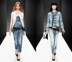 (4a) Womens Denim Salopette One Piece Body Suit Ankle Length - (4b) Womens Midge Carter Denim Jacket & Slim Tapered Denim Jeans - G-Star RAW 2013 Spring Summer Womens Runway Collection