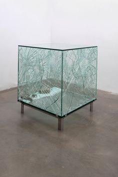 """mianoti: """" Sarah Van Sonsbeeck * One cubic meter of broken silence vandalized art object, brick, glass steel """" K Store, Art Cube, Glass Cube, Land Art, Conceptual Art, Art Object, Installation Art, Sculpture Art, Contemporary Art"""