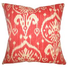 Cotton pillow with an ikat motif. Made in the USA.  Product: PillowConstruction Material: Cotton cover and down ...
